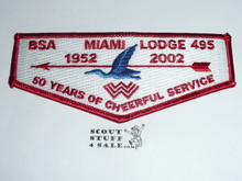 Order of the Arrow Lodge #495 Miami 2002 50th Anniv Flap Patch