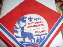 1969 National Jamboree Souvenir Neckerchief with Contingent Member's Signatures on it