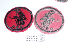 Woodpecker Patrol Medallion, Red Twill with red rubber backing, 1955-1971