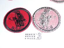 Woodpecker Patrol Medallion, Felt w/BSA black/White ring back, 1940-1955