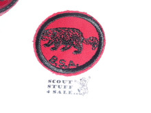 Wolverine Patrol Medallion, Red Twill with gum back, 1955-1971