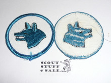 Wolf Patrol Medallion, White Twill with gauze back, 1972-1989