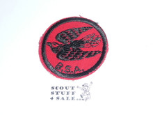 Whippoorwill Patrol Medallion, Red Twill with gum back, 1955-1971