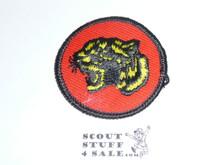 Tiger Patrol Medallion, Orange Twill with plastic back, 1972-1989