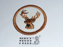Stag Patrol Medallion, White Twill (tan stag) with plastic back, 1972-1989