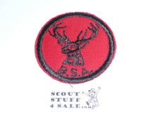 Stag Patrol Medallion, Red Twill with red rubber backing, 1955-1971