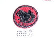 Squirrel Patrol Medallion, Red Twill with red rubber backing, 1955-1971