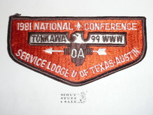 Order of the Arrow Lodge #99 Tonkawa s12 1981 NOAC Flap Patch