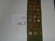 1950's Boy Scout Merit Badge Sash with 28 Khaki Crimped Merit badges, #55