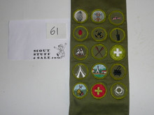1960's Boy Scout Merit Badge Sash with 15 Rolled Edge Merit badges, #61