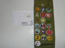 1960's Boy Scout Merit Badge Sash with 22 rolled edge Merit badges, #63