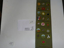 1960's Boy Scout Merit Badge Sash with 22 rolled edge Merit badges, #64