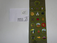 1960's Boy Scout Merit Badge Sash with 19 rolled edge Merit badges, #65
