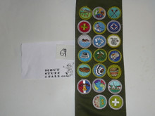 1980's Boy Scout Merit Badge Sash with 20 rolled edge Merit badges, #69