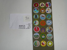 1980's Boy Scout Merit Badge Sash with 21 rolled edge Merit badges, #70