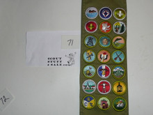 1980's Boy Scout Merit Badge Sash with 21 rolled edge Merit badges, #71
