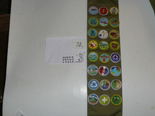 1980's Boy Scout Merit Badge Sash with 24 rolled edge Merit badges, #72