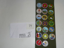 1990's Boy Scout Merit Badge Sash with 20 rolled edge Merit badges, #74