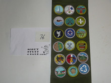 1990's Boy Scout Merit Badge Sash with 18 rolled edge Merit badges, #76