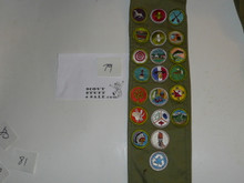 1970's Boy Scout Merit Badge Sash with 21 rolled edge Merit badges, #79