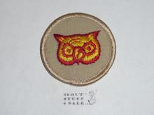 Owl Patrol Medallion, Tan Twill with Plastic Back