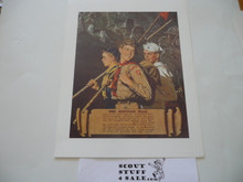 Norman Rockwell, The Scouting Trail, 11x14 On Heavy Cardstock, slight dogeared corners and/or watermark but print is unaffected and will frame or show fine