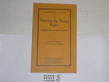 1924 Starting the Troop Right, By The Boycraft Company, Approved by the BSA, Booklet #A2