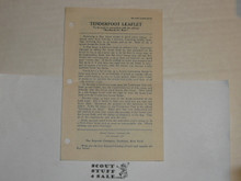 1929 Tenderfoot Leaflet, By The Boycraft Company, Approved by the BSA, Leaflet B570, RARE