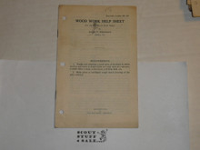 1928 Wood Work Help Sheet Leaflet, By The Boycraft Company, Approved by the BSA, Leaflet BS164, RARE