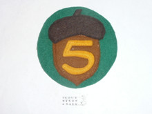 Region 5 FELT Patch with an Acorn, some glue and paper on the back