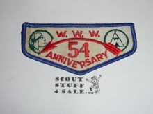 Order of the Arrow Trader Bill 54th Anniversary Flap Patch, box soiled