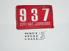 2001 National Jamboree JSP - Troop 937 Patch, velcro sewn to back