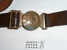 """1967 Boy Scout World Jamboree Official Leather Belt with Brass Buckle, adjustible up to ~38"""", Lite use with a little discoloration on buckle"""