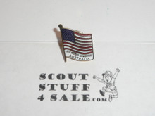 1987-1988 Boy Scout World Jamboree USA Flag Pin with Jamboree Printed below