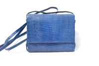 ELECTRIC BLUE 1970's-80's Lizard Skin Shoulder Crossbody Bag - ANDREA PFISTER - SAKS