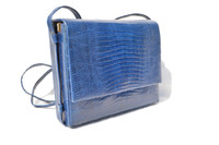 ELECTRIC BLUE 1970's-80's Lizard Skin Shoulder Crossbody Bag - ANDREA PFISTER - SAKS