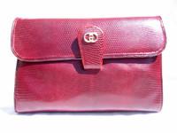 GUCCI 1970's-80's BURGUNDY Lizard Skin CLUTCH Shoulder Bag