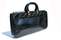 "XL 17"" Long SAKS FIFTH AVENUE Jet Black 1970's-80's Lizard Skin Handbag BRIEF - Italy"