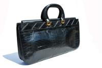 "XL 17"" Long SAKS FIFTH AVENUE Jet Black 1970's-80's Lizard Skin Handbag BRIEF - Italy"