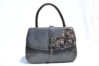 CUSTOM 1950's-60's Grey LUCILLE de PARIS Lizard & Crocodile Skin Purse