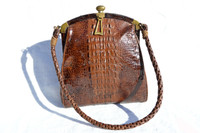 Early 1900's Petite EDWARDIAN Hornback ALLIGATOR Handbag