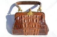 1920's Petite Victorian Hornback Alligator Handbag