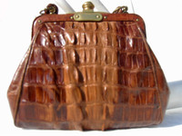 Early 1900's PETITE Cognac Alligator TAIL Skin Handbag