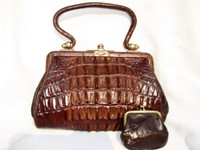 1920's Petite Brown Victorian Hornback Alligator Handbag with Change Purse