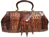 Fabulous Antique 1904 Double Hornback Alligator Tail Bag w/Paw!