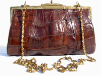 Early 1900's Petite Brown Hornback ALLIGATOR TAIL Shoulder Bag CLUTCH