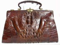 HUGE Early 1900's Chocolate Brown Edwardian Alligator Handbag w/Paws