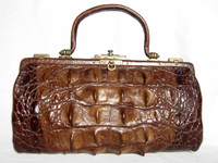Brown 1920's-30's Victorian Style Hornback Alligator Tail Handbag