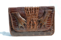 1940's Chocolate Brown Hornback Alligator Skin Clutch Purse