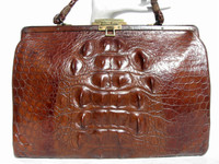 Dark Honey 1950's Alligator purse w/Osteoderms!
